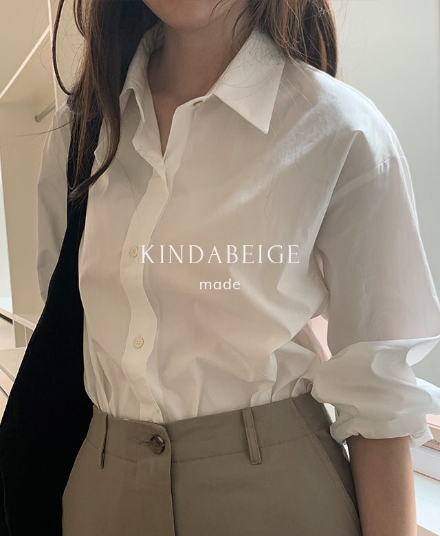 [kindabeige] 얼루어 셔츠 (plain white),kindabeige
